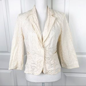 Nine & Co. by Nine West Cream Eyelet Blazer